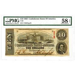 C.S.A., 1863, $10, T-59, PMG Choice AU 58 EPQ.