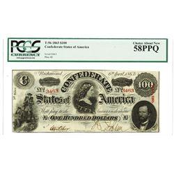 C.S.A., 1863, $100, T-56, PCGS Choice AN 58 PPQ.