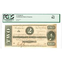 C.S.A., 1864, $2, T-70, PMG New 62.