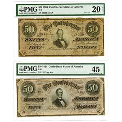 C.S.A., 1864 $50, T-66 Banknote Pair