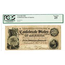 C.S.A., 1864, $500, T-64, PCGS VF 25.