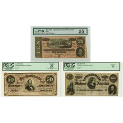 C.S.A., 1864 $10, $50, $100, T-68; T-66; and T-65 Banknote Trio