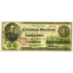 Fr. 17a, Legal Tender, Series of 1862, $1, Fine Condition.
