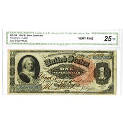 Fr. 218 $1 Series of 1886, $1 Silver Certificate, CGA Very Fine 25 with Good Luck Signature and 1889