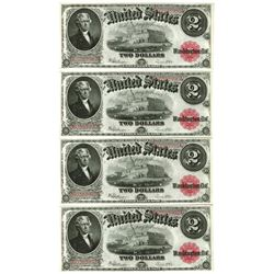 U.S. Note, Fr. 60, $2, 1917 Legal Tender Cut Sheet of 4 Notes
