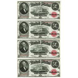 U.S. Note, Fr. 60, $2, 1917 Legal Tender Cut Sheet of 4 Notes