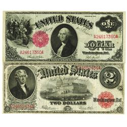 Fr. 36 and Fr# 60, Legal Tender Pair, Series of 1917, U.S. Note, $1 and $2, Both are VF to Choice VF