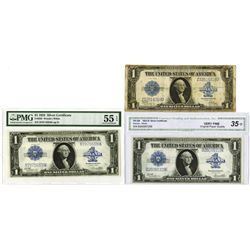 Fr. 238 (2) and Fr. 239, Series of 1923, Silver Certificates, $1 trio, Fine to AU condition.