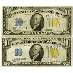 Fr. 2309 $10, 1934A North Africa Silver Certificate Pair, VF and Choice VF.