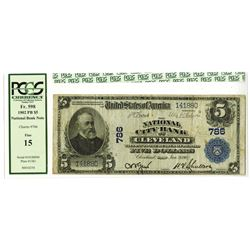 Cleveland, Ohio - $5 1902 Plain Back Fr. 598 The National City Bank of Cleveland, Ch. # 786, PCGS Fi