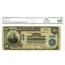 Cumberland, Maryland - $10 1902 Plain Back Fr. 625, The Second National Bank of Cumberland, Ch. # 15