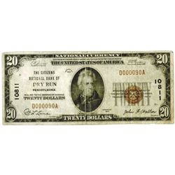 Dry Run Pennsylvania. Citizens National Bank of Dry Run. $20, 1929 T-1 CH#10811 National Banknote.