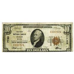 Elko, NV. First National Bank of Elko. $10, 1929 T-1 CH#7743 National Banknote.