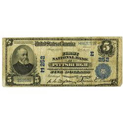 Pittsburgh, Pennsylvania - $5 1902 Plain Back Fr. 606, First National Bank at Pittsburgh, Ch. # Û 25