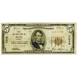 Reno, NV. First National Bank of Reno. $5, 1929 T-1 CH#7038 National Banknote.