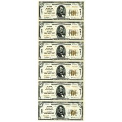 Woodbine, New Jersey. The Woodbine National Bank, Uncut Sheet of 6 Notes, $5, 1929 T-2, CH#12977 Nat