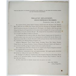 Treasury Department 1870 Circular on Damaged National Banknote Currency