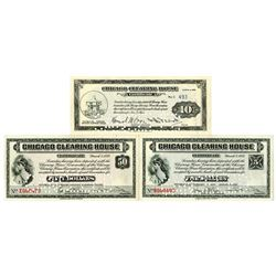 Chicago Clearing House. 1933. Lot of 3 Issued Notes with Matching Serial #'s 493.