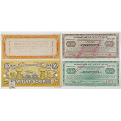 Oregon, Nebraska & New Jersey Depression Scrip & Promissory Note Quartet, ca.1930's