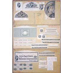 American Express Co. Travelers Checks, ca. 1960s Proof Intaglio Design Elements & Check