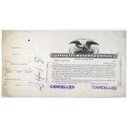 LaFayette Motors Co., 1919  Progress Proof Stock Certificate