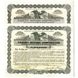 Parenti Motors Corp. Issued Bond Pair, ca. 1920-1921