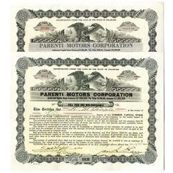 Parenti Motors Corp. Issued Bond Pair, ca. 1920-1921