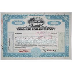 Yellow Cab Co., 1930-40 Specimen Stock Used as a Model with Changes Added to the Certificate.