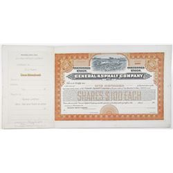 General Asphalt Co. 1913 Approval Proof Stock Certificate