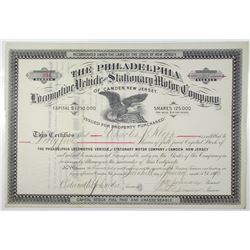 Philadelphia Locomotive Vehicle and Stationary Motor Co. of Camden, New Jersey 1890 Stock Certificat