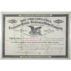 Philadelphia Locomotive Vehicle and Stationary Motor Co. of Camden, New Jersey 1890 Stock Certificat