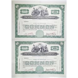 Standard Products Co. Specimen Uncut Stock Certificate Pair