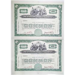 Standard Products Co. Specimen Uncut Stock Certificate Pair