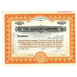 Autocar Co., ND (1900-1920s) Specimen Stock Certificate