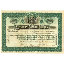 Keystone Wagon Works, 1903 I/U Stock Certificate