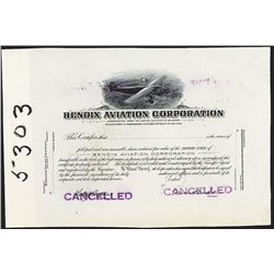 Bendix Aviation Corp., ca.1920-1930's Proof Stock Certificate
