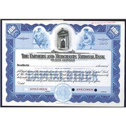 Farmers & Merchants National Bank of Los Angeles, 1910-20 Specimen Stock Certificate.
