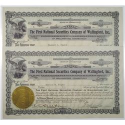 First National Securities Co. of Wallingford, Inc., 1934 I/U Stock Certificate Pair