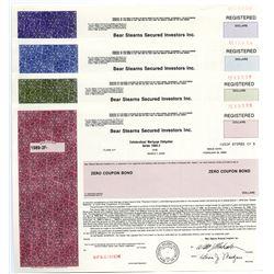 Bear Stearns Secured Investors Inc. 1989 Specimen Bond Quartet