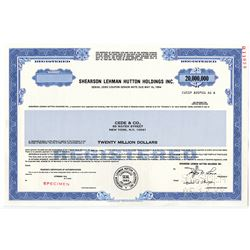 Shearson Lehman Hutton Holdings Inc., 1988 $20,000,000 High Denomination Specimen Stock Certificate
