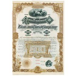 New England Loan and Trust Co., 1850s Specimen Bond