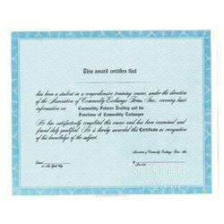 Association of Commodity Exchange Firms, Inc. 1967 Specimen Education Certificate
