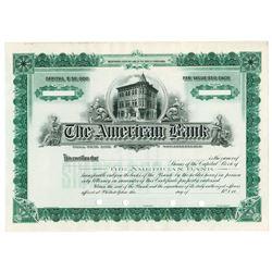 American Bank, 1910s Specimen Stock Certificate