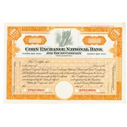 Corn Exchange National Bank and Trust Co., 1920s Specimen Stock Certificate