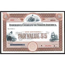 Insurance Company of North America, ND ca. 1890-1910 Specimen Stock Certificate.