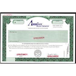 AmeriTrade Holding Corp., 1990s Class A Specimen Stock Certificate, XF