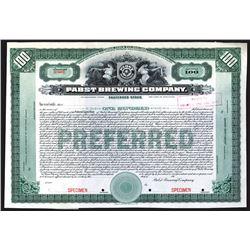 Pabst Brewing Co. 191x Specimen Stock Certificate.