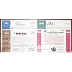 Quartet of Specimen Gaming and Gambling Stock Certificates & Bonds, ca. 1981-1990s