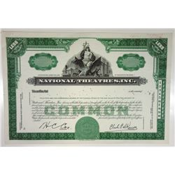 National Theaters, Inc. 1952 Approval Proof Stock Certificate