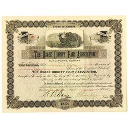 Osage County Fair Association 1897 I/U Stock Certificate